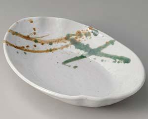 【まとめ買い10個セット品】和食器 ユ307-046 二彩吹 波型楕円8.0鉢 【キャンセル/返品不可】