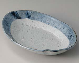 【まとめ買い10個セット品】和食器 ユ307-057 藍虹味 波型楕円8.0鉢【キャンセル/返品不可】