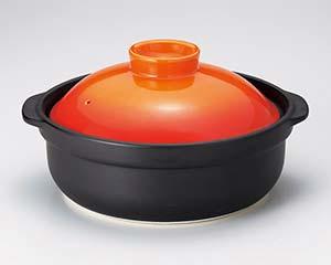 【まとめ買い10個セット品】和食器 ハ400-246 黒宴ベイクオレンジ6号鍋 【キャンセル/返品不可】