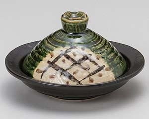 【まとめ買い10個セット品】和食器 ト406-307 織部格子楕円鍋【キャンセル/返品不可】
