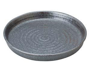 【まとめ買い10個セット品】和食器 タ443-147 窯変銀彩結晶 切立8.0盛皿【キャンセル/返品不可】