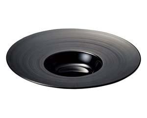 【まとめ買い10個セット品】ネ549-247 グラシアブラウン&ブラック グラシアブラック26cm平型スープ【キャンセル/返品不可】