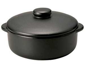 【まとめ買い10個セット品】ス596-057 ブラックセラム(超耐熱・直火OK!!) 蓋付グラタン【キャンセル/返品不可】