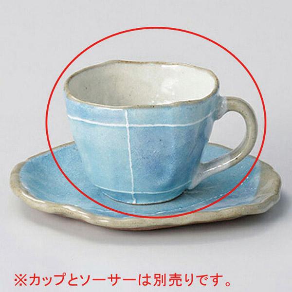 【まとめ買い10個セット品】カ603-137 ブルー色十草タタラコーヒー碗【キャンセル/返品不可】