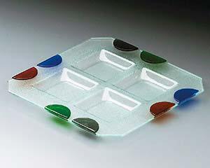 【まとめ買い10個セット品】ワ645-187 ガラス つば形四角盛皿 【キャンセル/返品不可】