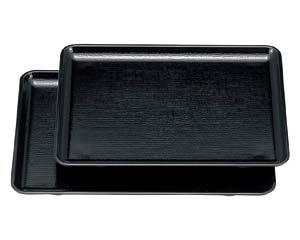 【まとめ買い10個セット品】エ710-107 [A]長手布目盆 黒NS9寸[ノンスリップ加工]【キャンセル/返品不可】