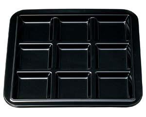 和食器 エ721-136 [M]メラミンブロックプレート9ッ仕切 黒