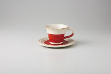 【まとめ買い10個セット品】和食器 赤釉手彫ライン コーヒーC/S 36M463-04 まごころ第36集 【キャンセル/返品不可】