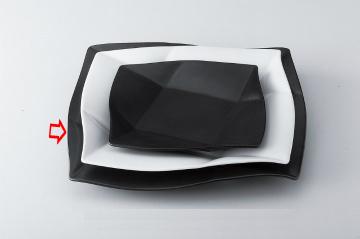 【まとめ買い10個セット品】和食器 ブラックウェーブ 正角皿(大) 36K399-06 まごころ第36集 【キャンセル/返品不可】