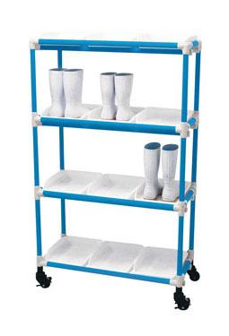 抗菌イレクター 長靴ラック キャスター 3列4段 12人用 ブルー 【 メーカー直送/後払い決済不可 】