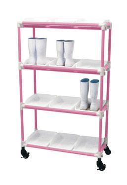 抗菌イレクター 長靴ラック キャスター 3列4段 12人用 ピンク 【 メーカー直送/後払い決済不可 】