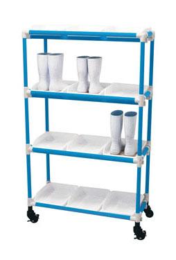 抗菌イレクター 長靴ラック キャスター 3列5段 15人用 ブルー 【 メーカー直送/後払い決済不可 】