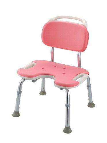 やわらかシャワーチェア ピンク U型背付ワイド[介護用品] 【 業務用 【 店舗備品 介護用品 入浴用品 】