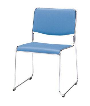 【まとめ買い10個セット品】 スタッキングチェア MK-480(合成皮革張り) MK-480(BL) ブルー
