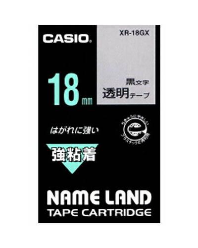 【まとめ買い10個セット品】 ネームランド用テープカートリッジ  強粘着テープ 5.5m XR-18GX 透明 黒文字