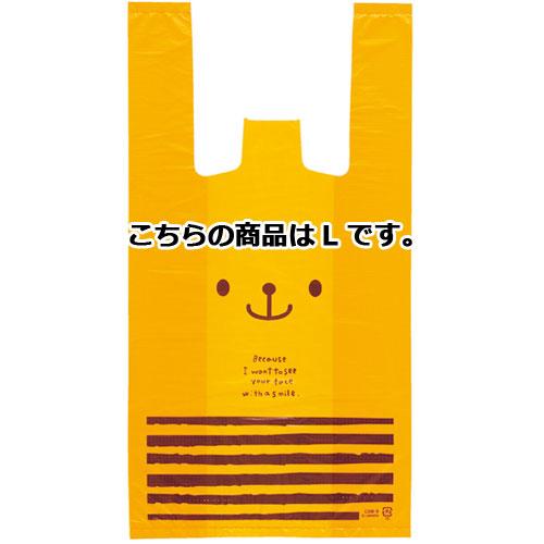 【まとめ買い10個セット品】 うさクマ レジ袋 L クマ 100枚【店舗什器 小物 ディスプレー ギフト ラッピング 包装紙 袋 消耗品 店舗備品】