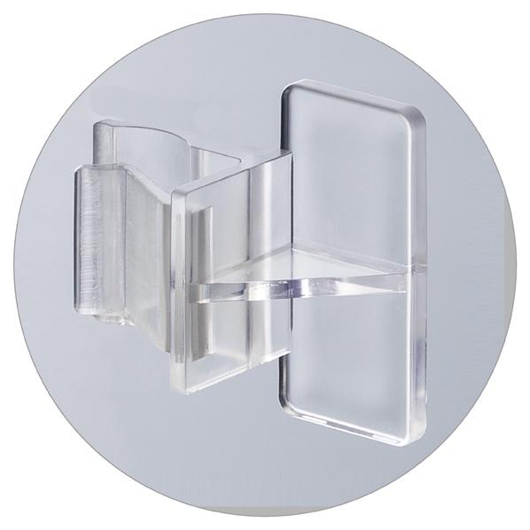 【まとめ買い10個セット品】 ガラス棚固定パーツABS樹脂製50個 透明 (ガラス棚5mm厚/スリット16×9mm専用)