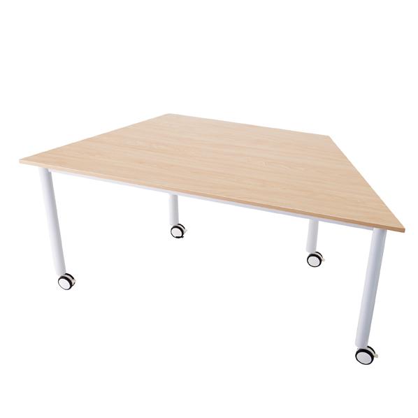 【まとめ買い10個セット品】 キャスターテーブル 台形 ナチュラル 1台
