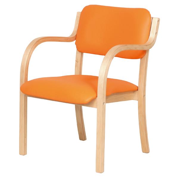 木製合皮スタッキングチェア(アーム付き) オレンジ 2台 完成品 【 店舗運営用品 テーブル&チェア スタッキングチェア 木製スタッキングチェア 合皮張り アーム付き) 】