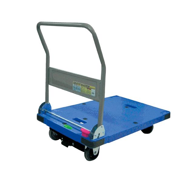 【まとめ買い10個セット品】 折りたたみ式樹脂微音台車 ブルー