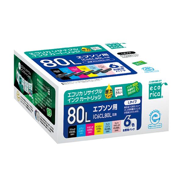 【まとめ買い10個セット品】 エコリカ エプソン IC6CL80用リサイクル6色パック 大容量