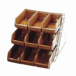 『 カトラリーボックス オーガナイザー 』SAスタンダード オーガナイザー 3段3列[9ヶ入]ブラウン