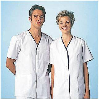 【まとめ買い10個セット品】男性用デザイン白衣 半袖 FA-347 LL
