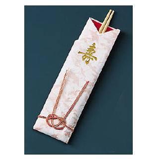 『割箸 』袋入祝箸5膳 千羽鶴水引付 アスペン祝箸 [1ケース200パック入]【開業プロ】