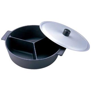 アルミ鍋ノナベ 三槽式フッ素加工(蓋付)30cm メイチョー