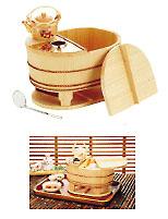 サワラ小判型湯ドーフセット(炭用) US-10254~5人用 メイチョー