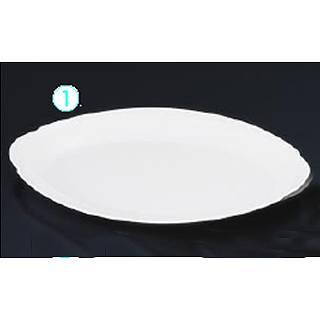 メラミン 小判皿[プラタン型] No.36A [12インチ] 白   メイチョー