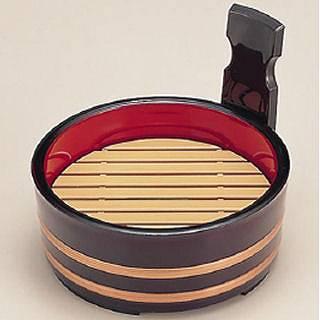 【まとめ買い10個セット品】6寸片手桶 溜金帯内朱 本体 1-658-6