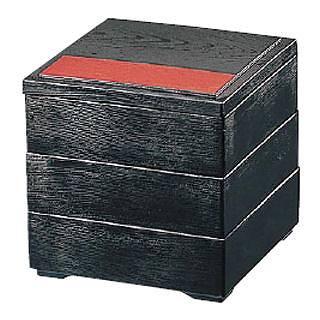 【まとめ買い10個セット品】5寸木目松花堂 黒天朱(仕切別)三段 21025280