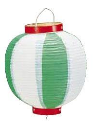 【まとめ買い10個セット品】ビニール提灯丸型 《9号》 緑/白 b44 【メイチョー】