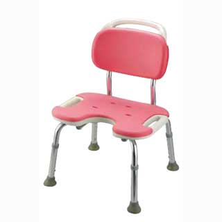 ヤワラカシャワーチェア ピンク  U型背付ワイド メイチョー