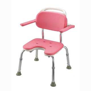 ヤワラカシャワーチェア ピンク  U型肘掛付コンパクト メイチョー