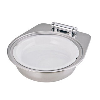 KINGO IHオープン丸チェーフィング小D105FN-T陶器製中皿付 メイチョー