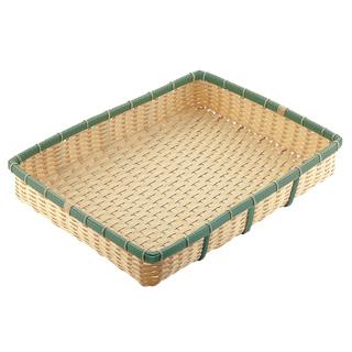 【まとめ買い10個セット品】『 ザル カゴ 竹製ザル 』業務用 PP 竹 角型 深ざる 60型 OB-600-BB