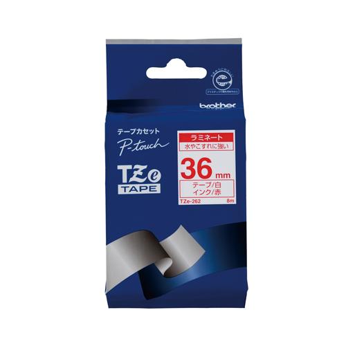 【まとめ買い10個セット品】 ピータッチ用 テープカートリッジ ラミネートテープ 8m TZe-262 白 赤文字 【メイチョー】