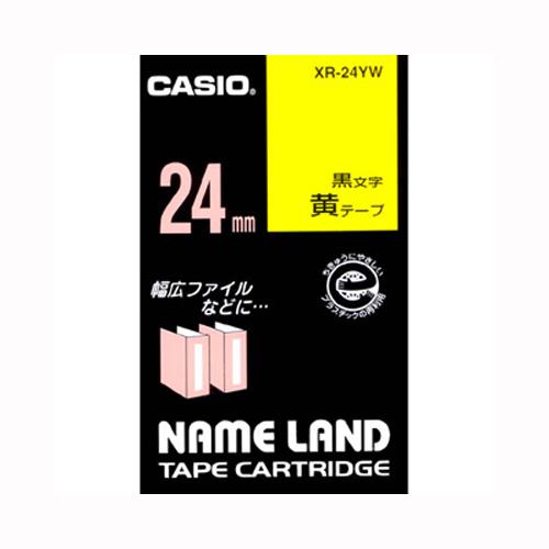 【まとめ買い10個セット品】 ネームランド用テープカートリッジ スタンダードテープ 8m/6m XR-24YW 黄 黒文字 【メイチョー】