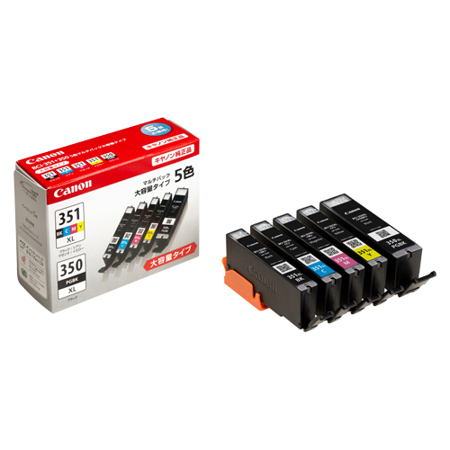 【まとめ買い10個セット品】 インクジェットカートリッジ BCI-351XL+350XL/5MP 5色マルチパック(大容量) 【メイチョー】