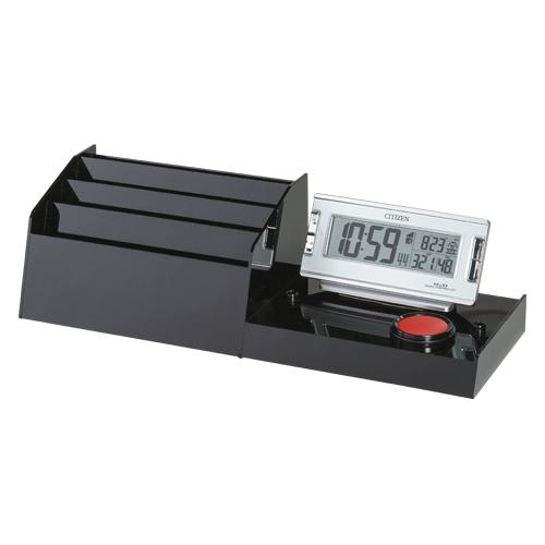 【まとめ買い10個セット品】 記載台 専用オプション(伝票ケース・デジタル時計) KDO-DC-S ブラック 【メイチョー】