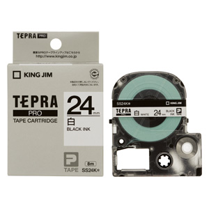 【まとめ買い10個セット品】「テプラ」PRO SRシリーズ専用テープカートリッジ 白ラベル 8m SS24K 白 黒文字 1巻8m キングジム【 オフィス機器 ラベルライター テプラテープ 】【開業プロ】