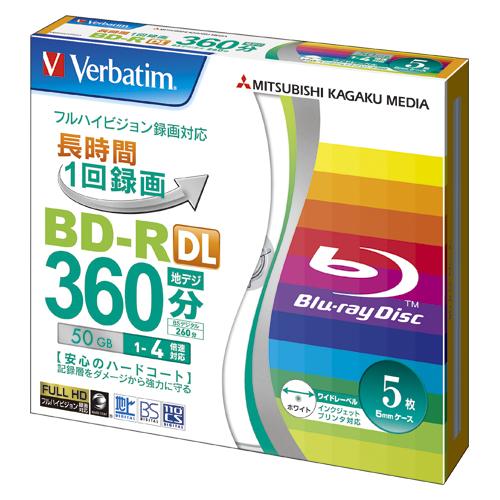 【まとめ買い10個セット品】 録画用 BD-R DL テレビ録画用1回録画タイプ(2層式) BD-R DL〈片面2層式〉 1-4倍速対応 VBR260YP5V1 【メイチョー】