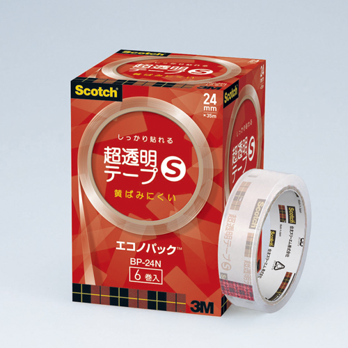 【まとめ買い10個セット品】スコッチ[R] 超透明テープS (大巻)エコノパック[TM] 巻芯径76mm BP-24N 6巻 スリーエム【開業プロ】
