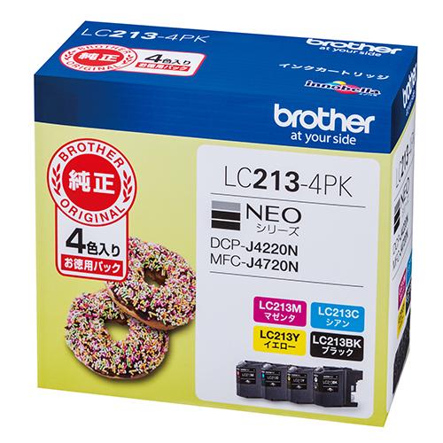 【まとめ買い10個セット品】インクジェットカートリッジ LC213-4PK 1セット ブラザー【開業プロ】