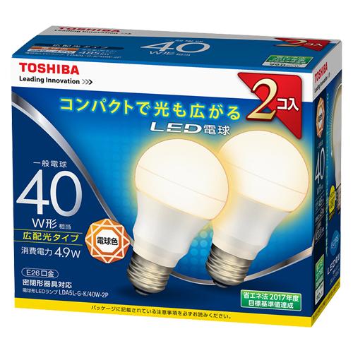 【まとめ買い10個セット品】E-CORE[イー・コア] LED電球 一般電球形 広配光タイプ 全光束485lm LDA5L-G-K/40W-2P 2個 東芝 【メーカー直送/代金引換決済不可】【開業プロ】