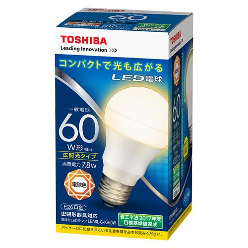 【まとめ買い10個セット品】E-CORE[イー・コア] LED電球 一般電球形 広配光タイプ 全光束810lm LDA8L-G-K/60W 1個 東芝 【メーカー直送/代金引換決済不可】【開業プロ】