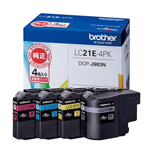 【まとめ買い10個セット品】インクジェットカートリッジ LC21E-4PK 1セット ブラザー【開業プロ】