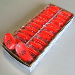 【まとめ買い10個セット品】親子札 2枚1組・スチロール製 CR-OY150-R 赤 50組1セット クラウン【 事務用品 名札 番号札 番号札 】【開業プロ】